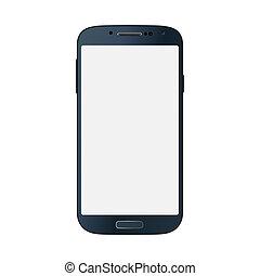 style, business, mobile, isolé, téléphone, arrière-plan noir, blanc
