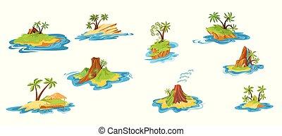style., cabanas, jogo, tropicais, vulcão, árvores, apartamento, waterfall., cenas, ilhas, diferente, ilustração, caricatura, montanhas, vetorial