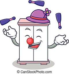 style, cabinet, caractère, dessin animé, jonglerie