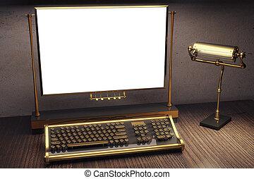 style, cadre, bois, steampunk, clavier, haut, vide, table, railler, machine écrire