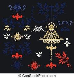 style, calligraphic, éléments, antiquité, vecotr, floral, classique, ensemble, vendange