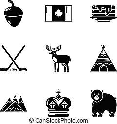 style, canadien, ensemble, icônes, simple, jouet