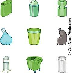 style, capacité, déchets, icônes, ensemble, dessin animé