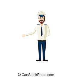style, capitaine, dessin animé, icône