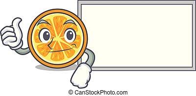 style, caractère, haut, planche, orange, dessin animé, pouces