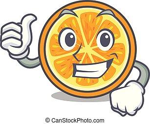 style, caractère, haut, pouces, orange, dessin animé