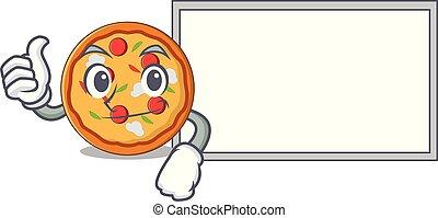 style, caractère, haut, pouces, pizza, dessin animé, planche