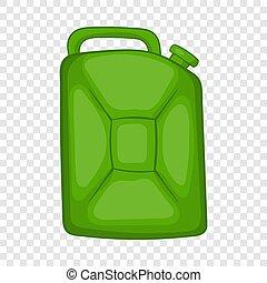 style, carburant, boîte métallique, vert, icône, dessin animé