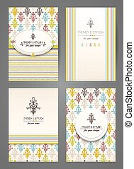 style., cartes., brochures, ensemble, créatif, templates., vecteur, conception, vendange