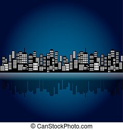 Style Cartoon Night City Skyline.