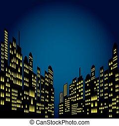 Style Cartoon Night City Skyline.
