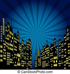 Style Cartoon Night City Skyline. - Vector illustrator EPS...