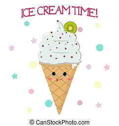 style, cartoon., smiley, glace, cône gaufre, crème