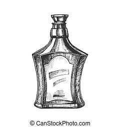 style, casquette, bouchon, vecteur, bouteille, dessiné, écossais