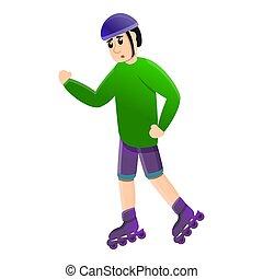 style, cavalcade, patins, icône, inline, dessin animé, premier
