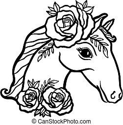 style., cavallo, rose.animal, floreale, testa fiore, eleganza, boho, isolato, bianco, natura, fondo.