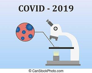 style., cells., virus, mikroskop, illustration, blod, covid-2019., vektor, lägenhet, pröva, undersökta