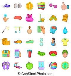 style, centre, icônes, ensemble, fitness, dessin animé