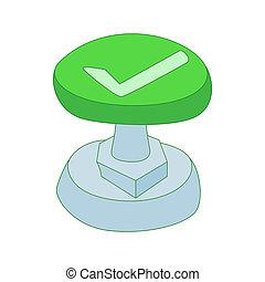 style, chèque, bouton, marque, vert, icône, dessin animé