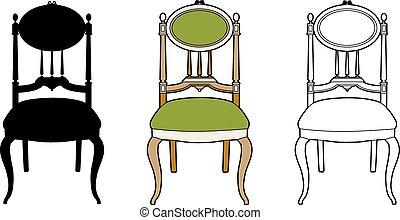 style, chaise, médaillon