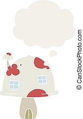 style, champignon, maison, pensée, retro, bulle, dessin animé