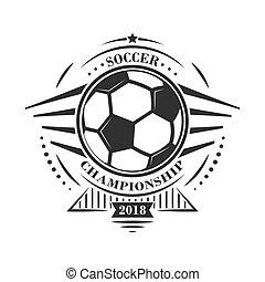 style, championnat, emblème, logotype, vecteur, retro, étoiles, football, ou, ball., design.