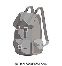 style, chasse, sac à dos, noir, icône, monochrome