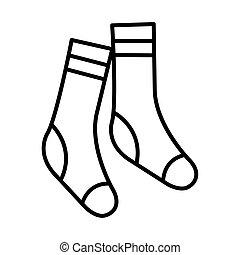 style, chaussettes, ligne, vecteur, icône, conception, ...