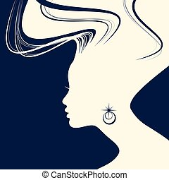 style cheveux, femme, silhouette