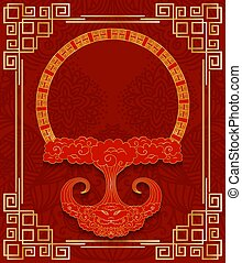 style, chinois, or, cadre, conception, salutations, envelopes., red., nuage, cartes postales