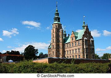 style, chrétien, construit, copenhague, denmark., règne, 1606, renaissance, rosenborg, hollandais, pendant, château, iv
