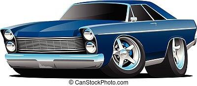 style, classique, grand, américain, illustration, années soixante, vecteur, voiture, muscle, dessin animé