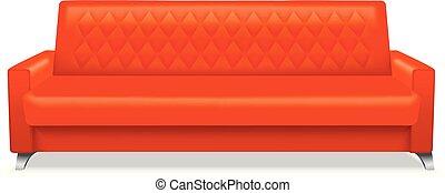 style, classique, sofa, réaliste, icône, rouges