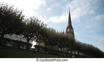 style., clock., vieux, arbres, toit, premier plan, église, ...