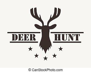 style., club, cerf, hunt., logo, vecteur, chasse, vendange, illustration.