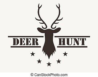 style., club, cervo, hunt., logotipo, vettore, caccia, vendemmia, illustration.