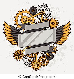 style, collage, steampunk, métal, engrenages, griffonnage