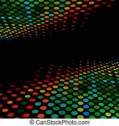 style, coloré, disco, space., halftone, arrière-plan noir, copie