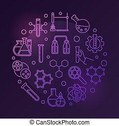 style, coloré, illustration, chimique, vecteur, rond, contour