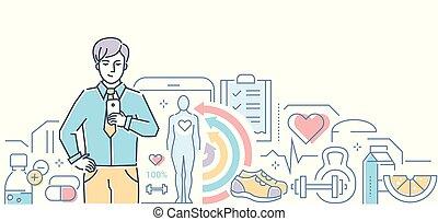 style, coloré, mobile, app, -, illustration, vecteur, conception, healthcare, ligne