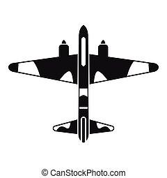 style, combattant, simple, avion, icône, militaire