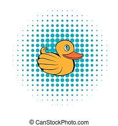 style, comiques, canard caoutchouc jaune, icône