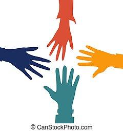 style., concept., 他。, 伸ばしている, それぞれ, 平ら, 4つの手, イラスト, カラフルである, ベクトル, 助力