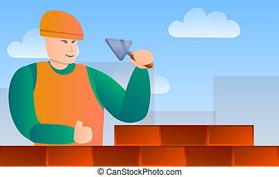 style, concept, bannière, ouvrier, outils maçonnerie, dessin animé