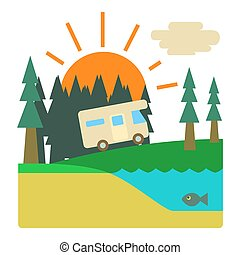 style, concept, campeur, voyage, forêt, plat