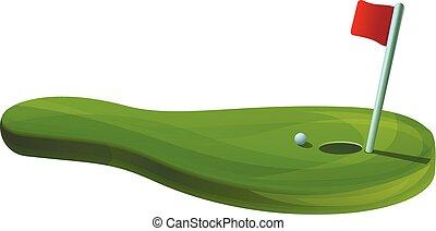 style, concept, golf, bannière, champ, dessin animé