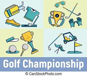 style, concept, golf, bannière, championnat, dessin animé