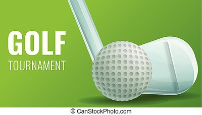 style, concept, golf, bannière, dessin animé