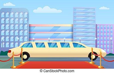 style, concept, limousine, bannière, dessin animé