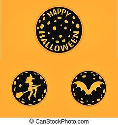 style, concept, moon., chauve-souris, halloween, conception, sorcière, ligne, insignes, heureux